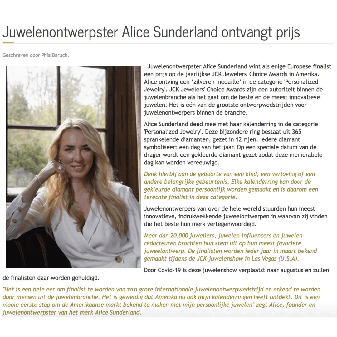 Alice Sunderland JCK Awards - Couturekrant